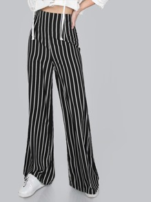 Striped Wide Leg Pants BLACK