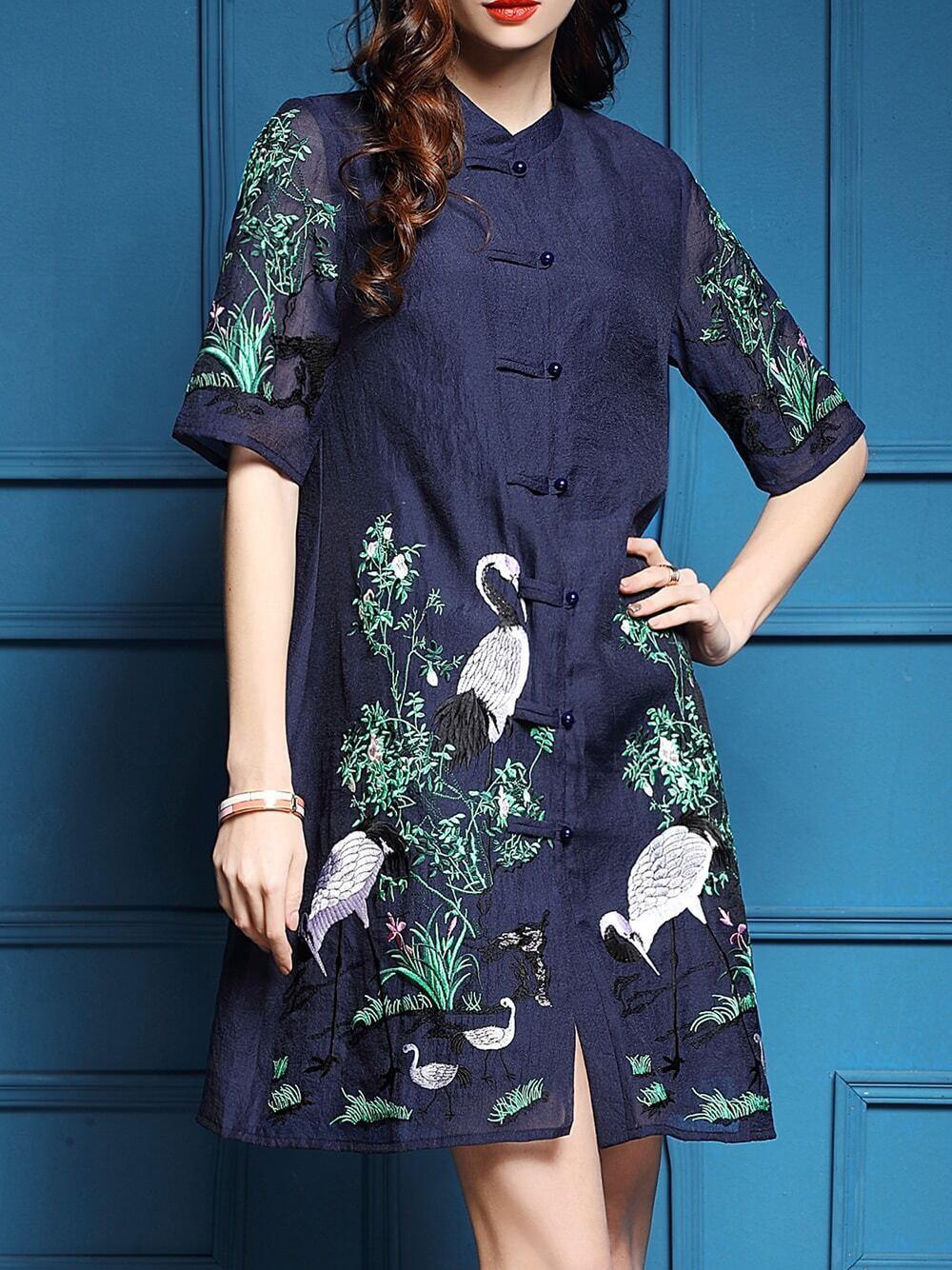 Navy vintage embroidered shift dress shein sheinside