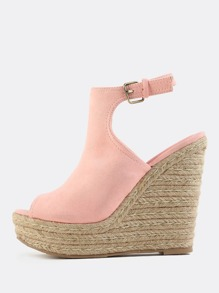 Faux Suede Peep Toe Wedges PINK