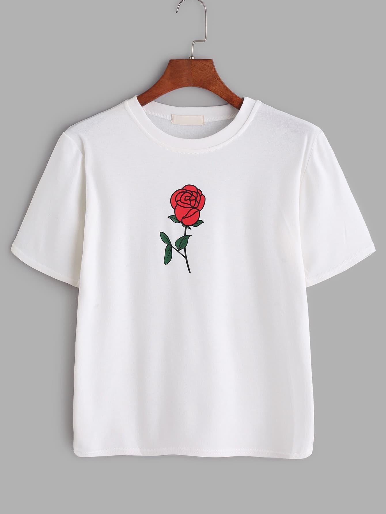 rose print t shirt shein sheinside. Black Bedroom Furniture Sets. Home Design Ideas