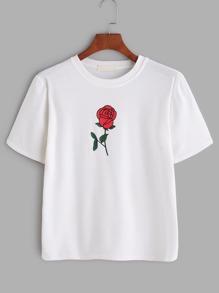 White Rose Print T-shirt