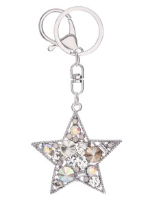 Silver Rhinestone Star Keychain