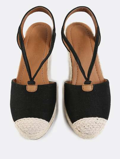 Linen Espadrille Wedges BLACK