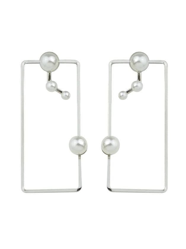 Фото Silver Color Pearl Big Square Shape Stud Earrings. Купить с доставкой
