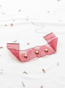 Red Star Studded Choker Necklace