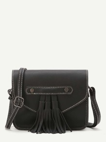 Black Faux Leather Tassel Trim Flap Bag