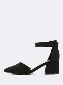 Faux Suede Pointed Block Heels BLACK