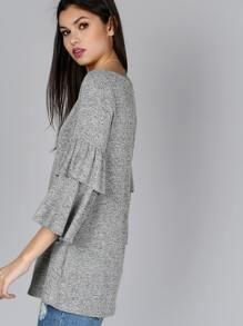 Ruffle Sleeve Round Neck Top HEATHER GREY