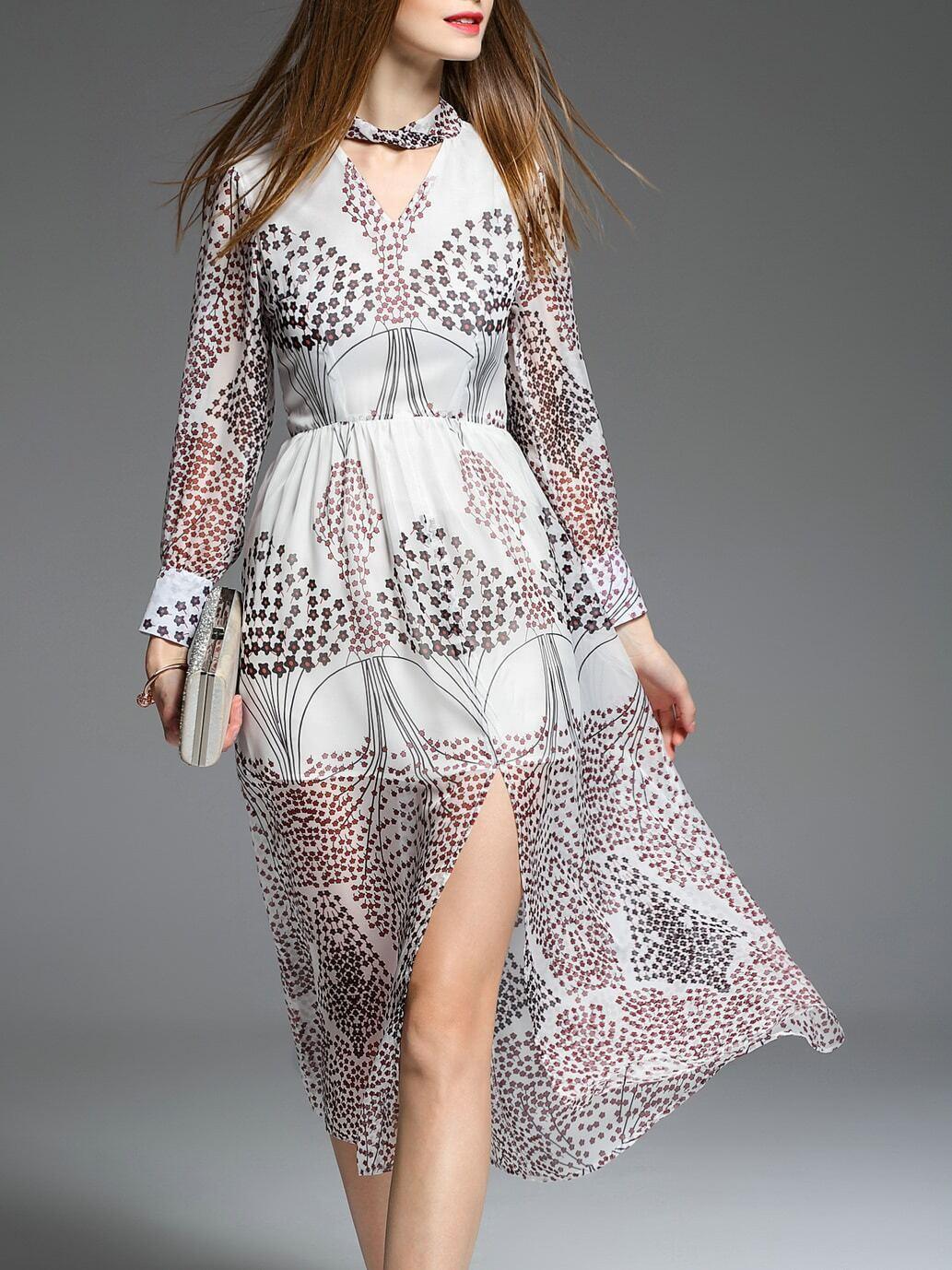 Фото White V Neck Floral Split Dress. Купить с доставкой