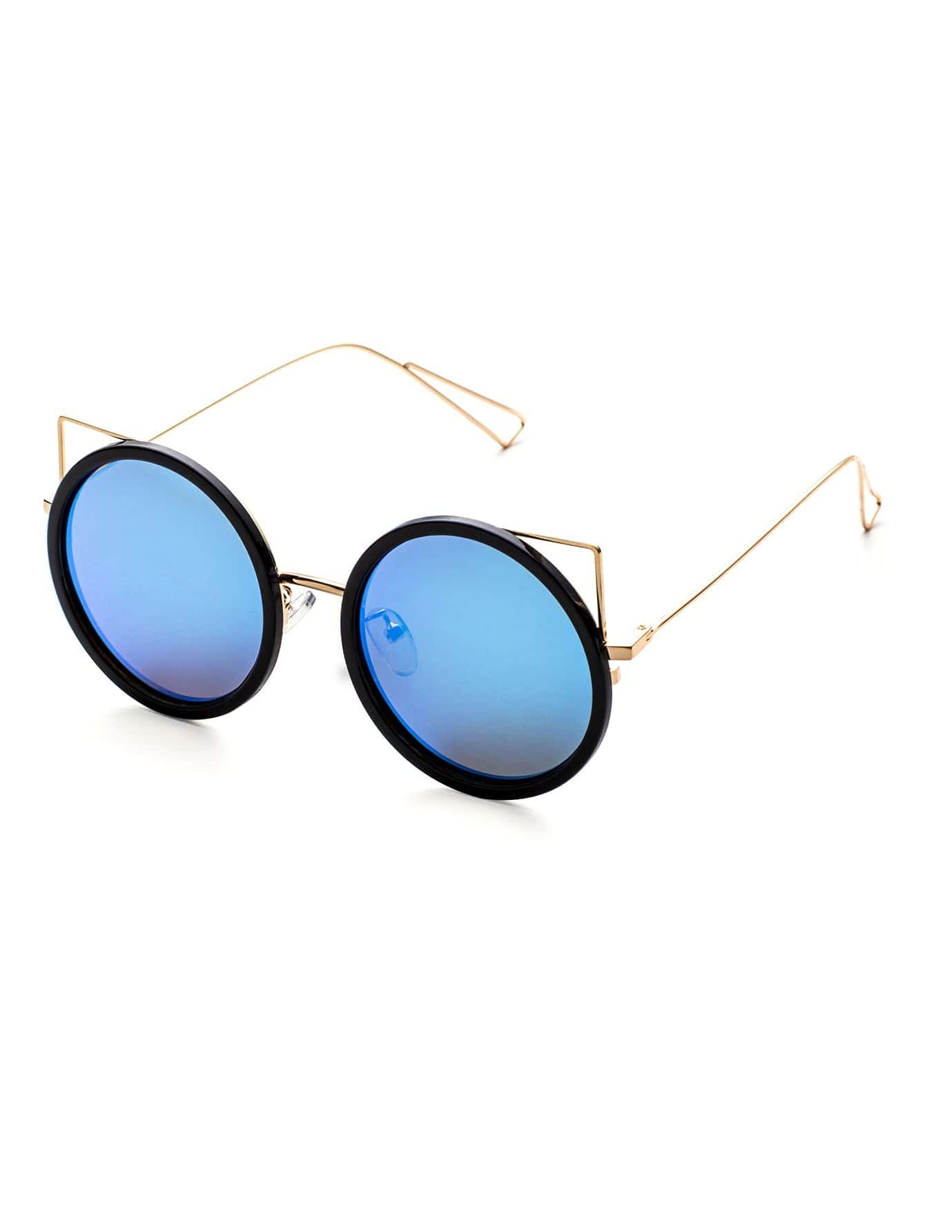 noir et or cadre bleu lunette ronde design lunettes de soleil french shein sheinside. Black Bedroom Furniture Sets. Home Design Ideas