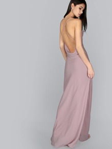 Criss Cross Backless Dress MAUVE
