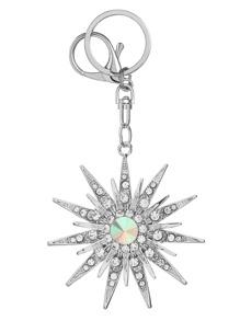 Silver Rhinestone Snowflake Keychain