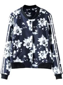 Navy Floral Print Striped Sleeve Jacket