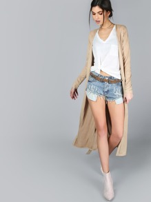 Faux Suede Duster Coat CAMEL