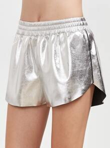 Shorts de cuir sintético - plateado metálico