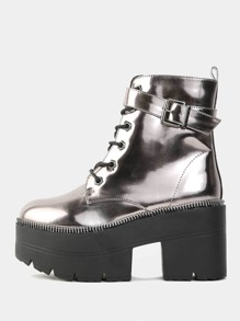 Platform Metallic Combat Booties PEWTER