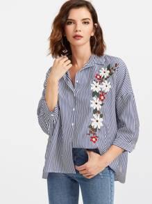 Vertical Striped Flower Embroidered Drop Shoulder Blouse