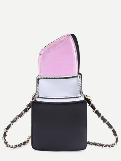 Pink Lipstick Shape PU Chain Bag
