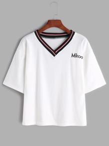 Stripe Neck Letter Embroidered T-shirt