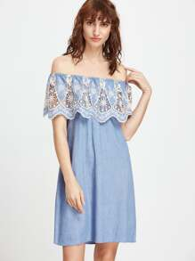 Flounce Layered Neckline Embroidered Denim Dress