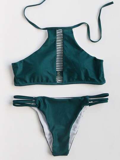 Dark Green Ladder Cutout Bikini Set