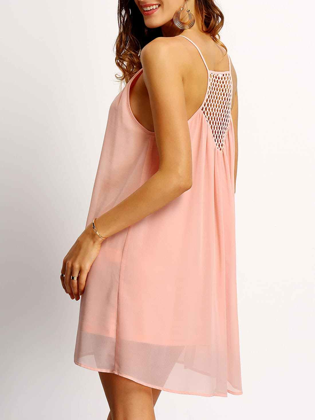 Pink Spaghetti Strap Hollow Back Shift Dress беговел puky lr 1l 4010 pink розовый