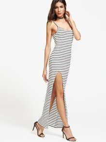 Black And White Striped High Slit Cami Dress