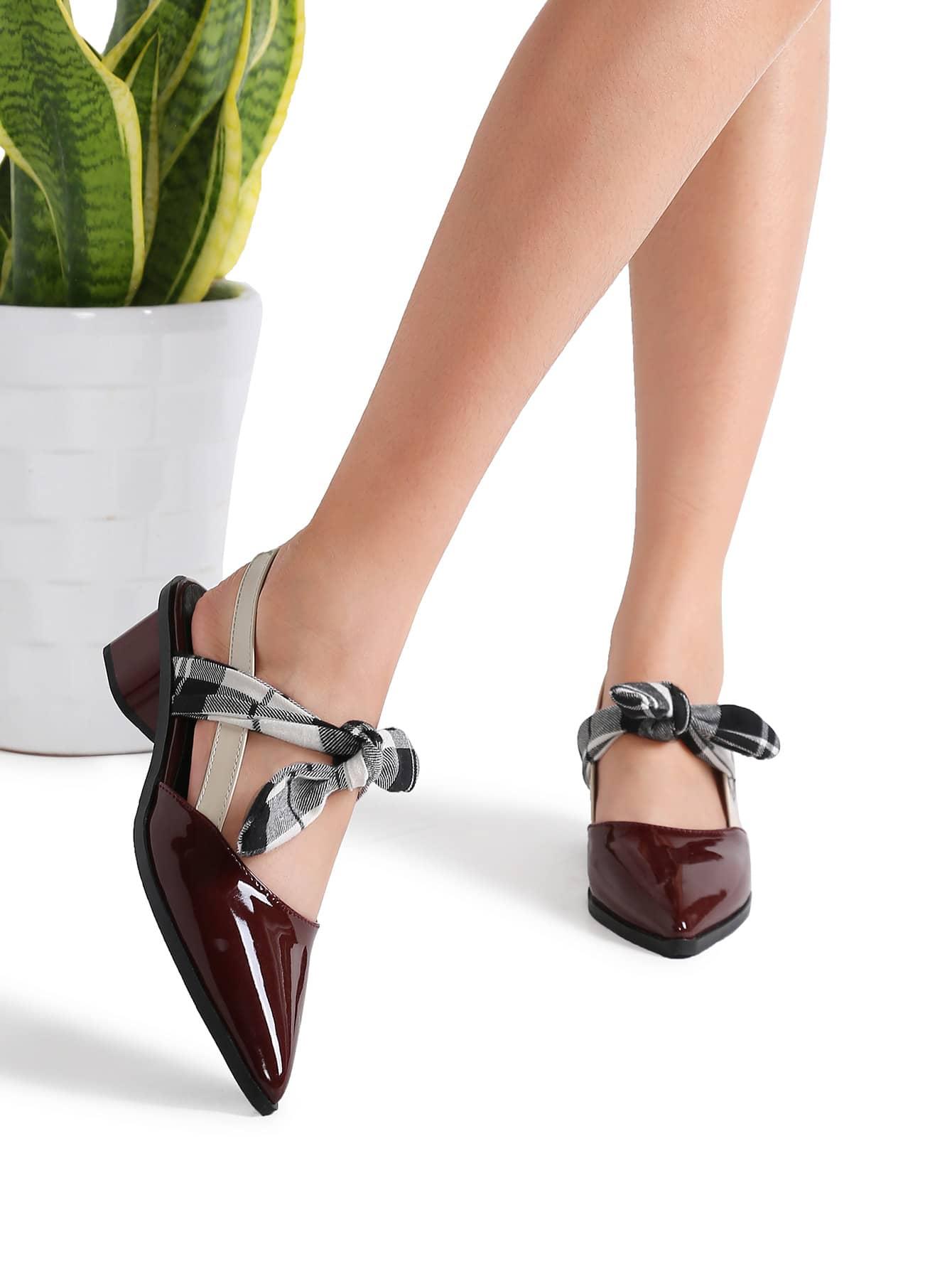 Фото Burgundy Plaid Tie Patent Leather Chunky Heel Pumps. Купить с доставкой