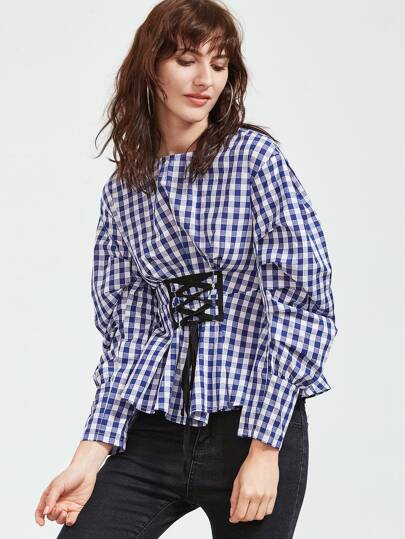 Checkered Puff Sleeve Lace Up Front Top