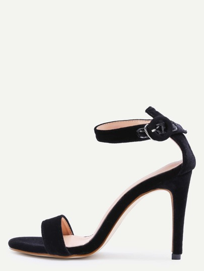 Black Open Toe Ankle Strap Velvet Stiletto Sandals