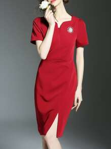 Red V Neck Split Sheath Dress