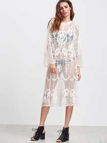 White Long Sleeve Sheer Embroidered Mesh Dress