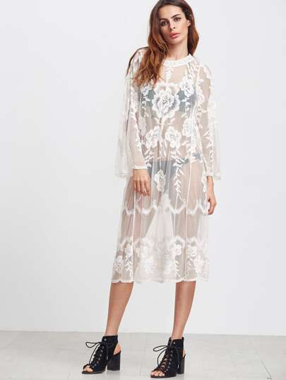 White Long Sleeve Sheer Embroidered Mesh Dress pictures