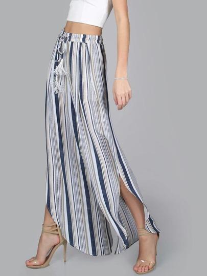 Tasseled Drawstring Curved Striped Slit Flow Pants