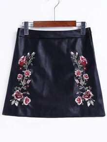 Falda pu línea A con bordado de flor - negro