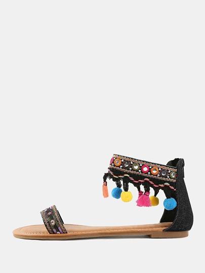 Embroidered Tassel Pom Pom Sandals BLACK
