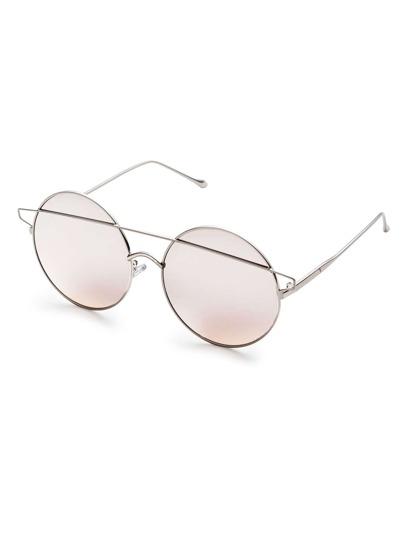 Silver Double Bridge Round Sunglasses