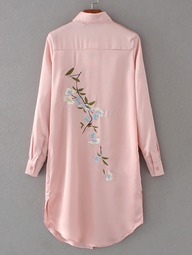 Фото Embroidered Back Slit Side Shirt Dress. Купить с доставкой