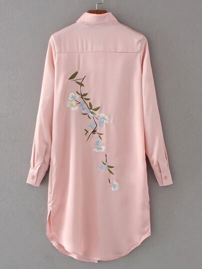 Embroidered Back Slit Side Shirt Dress