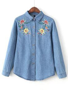 Blue Flower Embroidery Denim Blouse