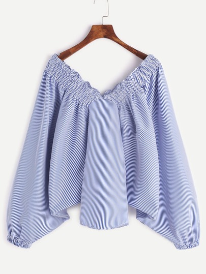 Blue Vertical Striped Batwing Sleeve Top