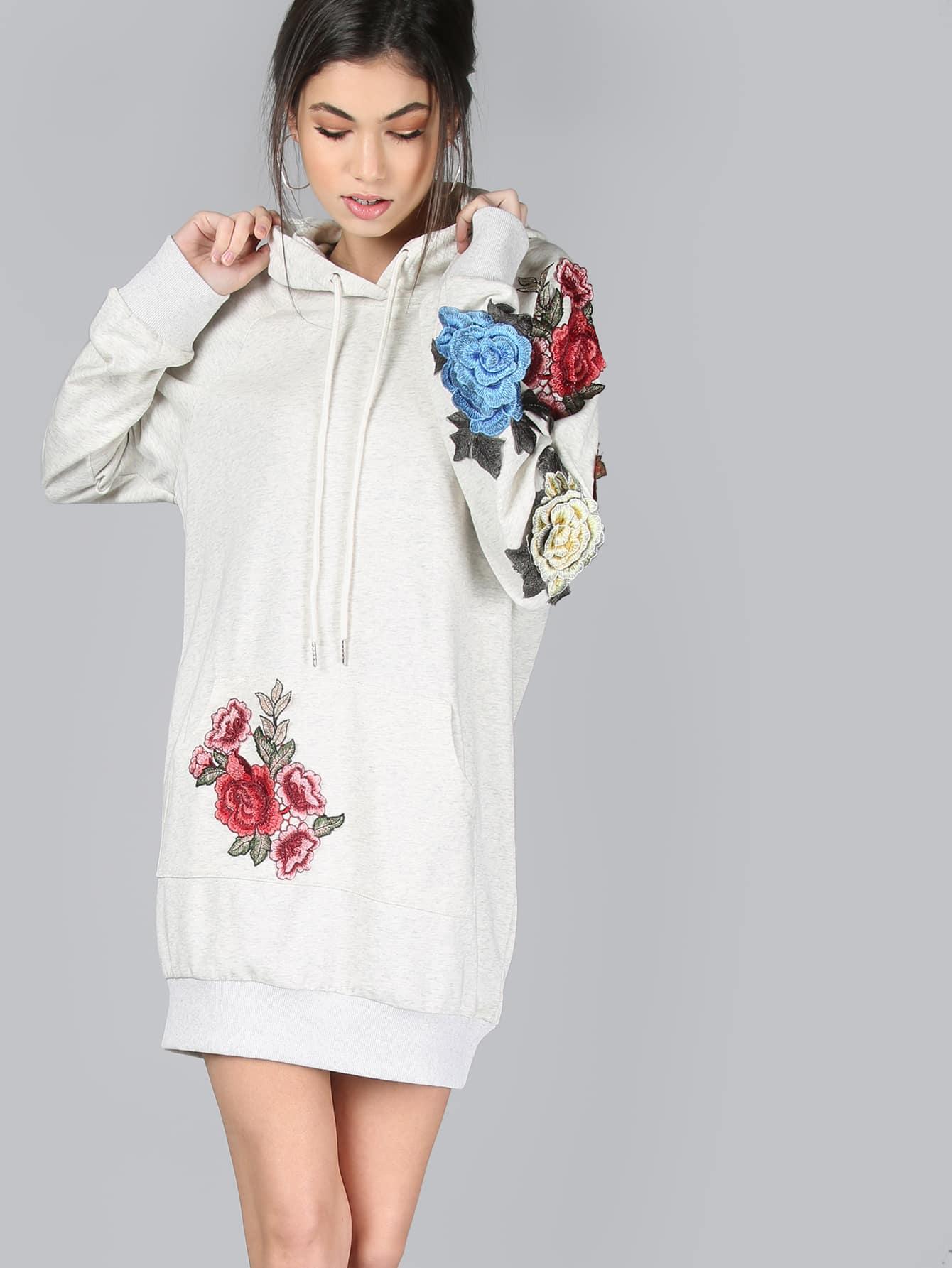 Kleid mit gestickten rosa Haube- German SheIn(Sheinside)