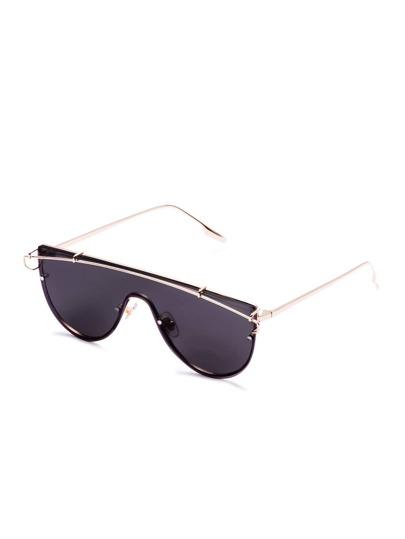 Gold Frame Glamorous Curved Design Sunglasses