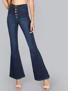High Waist Button Up Flare Jeans DARK BLUE