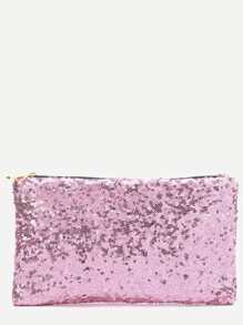 Sequin Clutch Bag With Leopard Lining
