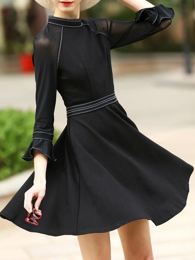 Фото Black Bell Sleeve A-Line Dress. Купить с доставкой