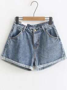 Bleu roulé Hem haute taille Denim Shorts