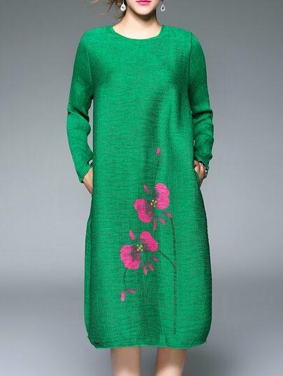 Green Crew Neck Flowers Print Pockets Vintage Dress