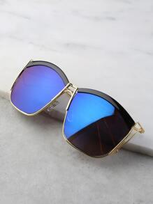 Contrast Mirror Curve Square Sunglasses BLUE