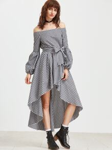 Black And White Checkered Off The Shoulder High Low Dress